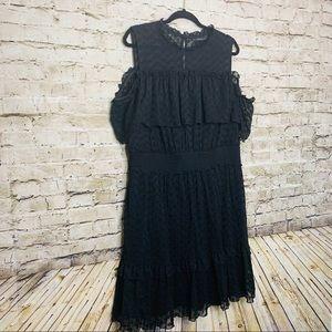 LANE BRYANT COLD SHOULDER BLACK RUFFLE DRESS SZ 20